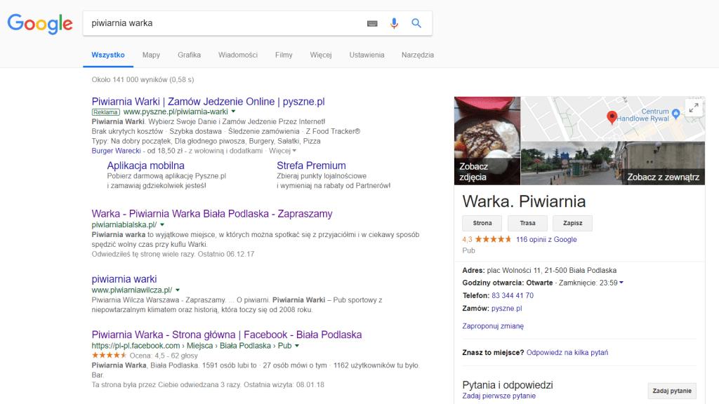 Wizytówka firmowa Google